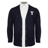 Navy V Neck Cardigan w/Pockets-Flag T