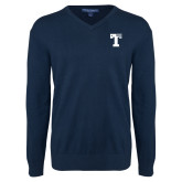 Classic Mens V Neck Navy Sweater-Flag T