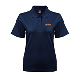 Ladies Easycare Navy Pique Polo-UT Tyler Arched
