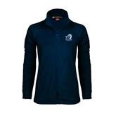 Ladies Fleece Full Zip Navy Jacket-UT Tyler w/ Eagle Head