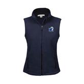 Ladies Fleece Full Zip Navy Vest-UT Tyler w/ Eagle Head