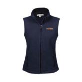 Ladies Fleece Full Zip Navy Vest-UT Tyler Arched