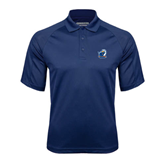 Navy Textured Saddle Shoulder Polo-UT Tyler w/ Eagle Head