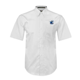 White Twill Button Down Short Sleeve-UT Tyler w/ Eagle Head