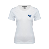 Ladies White Stretch Scoop Neck-Official Logo