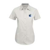 Ladies White Twill Button Up Short Sleeve-UT Tyler w/ Eagle Head