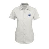 Ladies White Twill Button Up Short Sleeve-UT Tyler w/ Eagle Head