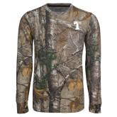 Realtree Camo Long Sleeve T Shirt w/Pocket-Flag T