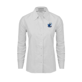 Ladies White Oxford Shirt-UT Tyler w/ Eagle Head
