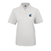 Ladies Easycare White Pique Polo-UT Tyler w/ Eagle Head