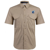 Khaki Short Sleeve Performance Fishing Shirt-UT Tyler w/ Eagle Head