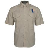 Khaki Short Sleeve Performance Fishing Shirt-Flag T