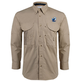 Khaki Long Sleeve Performance Fishing Shirt-UT Tyler w/ Eagle Head