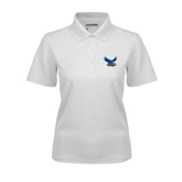 Ladies White Dry Mesh Polo-Official Logo