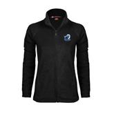 Ladies Fleece Full Zip Black Jacket-UT Tyler w/ Eagle Head
