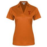 Ladies Orange Performance Fine Jacquard Polo-Flag T