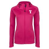 Ladies Tech Fleece Full Zip Hot Pink Hooded Jacket-Flag T