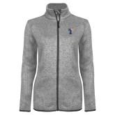 Grey Heather Ladies Fleece Jacket-Flag T
