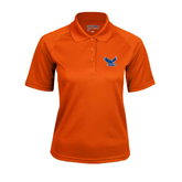 Ladies Orange Textured Saddle Shoulder Polo-Official Logo