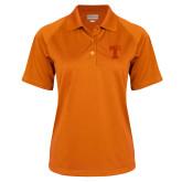 Ladies Orange Textured Saddle Shoulder Polo-Flag T