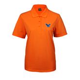 Ladies Easycare Orange Pique Polo-Official Logo
