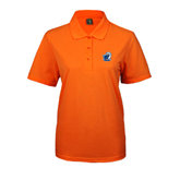 Ladies Easycare Orange Pique Polo-UT Tyler w/ Eagle Head