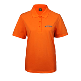 Ladies Easycare Orange Pique Polo-UT Tyler Arched