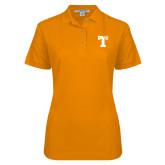 Ladies Easycare Orange Pique Polo-Flag T