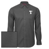 Red House Dark Charcoal Diamond Dobby Long Sleeve Shirt-Flag T