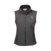 Ladies Fleece Full Zip Charcoal Vest-UT Tyler w/ Eagle Head