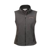Ladies Fleece Full Zip Charcoal Vest-UT Tyler Arched