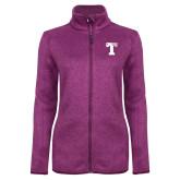 Dark Pink Heather Ladies Fleece Jacket-Flag T