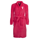 Ladies Pink Raspberry Plush Microfleece Shawl Collar Robe-Flag T