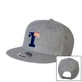 Heather Grey Wool Blend Flat Bill Snapback Hat-Flag T