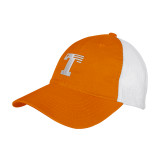 Orange/White Mesh Back Unstructured Low Profile Hat-Flag T
