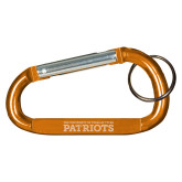 Orange Carabiner with Split Ring-University of Tyler Texas Patriots Stacked Engraved