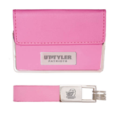 Business Card Case and Key Ring Set Pink-UT Tyler Patriots Engraved