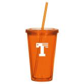 Madison Double Wall Orange Tumbler w/Straw 16oz-Flag T