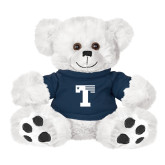 Plush Big Paw 8 1/2 inch White Bear w/Navy Shirt-Flag T