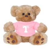 Plush Big Paw 8 1/2 inch Brown Bear w/Pink Shirt-Flag T