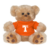 Plush Big Paw 8 1/2 inch Brown Bear w/Orange Shirt-Flag T