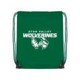 Kelly Green Drawstring Backpack-Secondary Logo