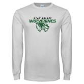 White Long Sleeve T Shirt-UVU Wolverines Distressed
