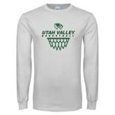 White Long Sleeve T Shirt-Wolverines Basketball