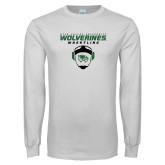 White Long Sleeve T Shirt-Wolverine Wrestling