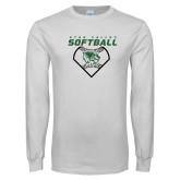 White Long Sleeve T Shirt-Wolverine Softball