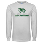 White Long Sleeve T Shirt-Utah Valley Wolverines Logo