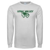White Long Sleeve T Shirt-Utah Valley Logo