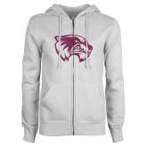 ENZA Ladies White Fleece Full Zip Hoodie-Wolverine Glitter Pink