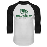 White/Black Raglan Baseball T Shirt-Utah Valley University